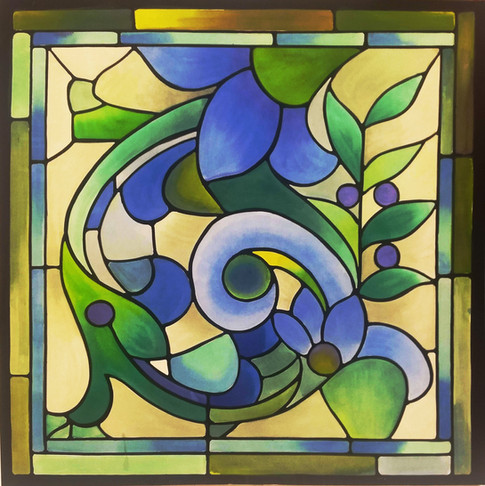 Stain glass with traslucent paint on muslin