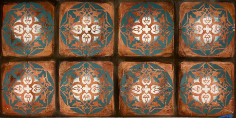 Stencil on painted terracota
