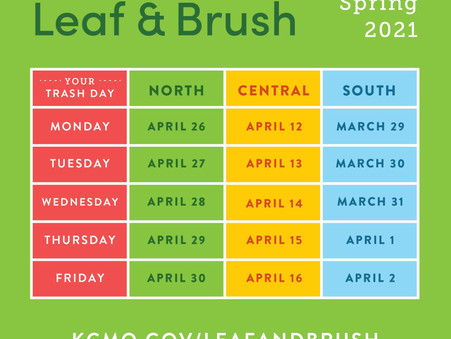 Leaf and Brush Pickup Schedule for Spring