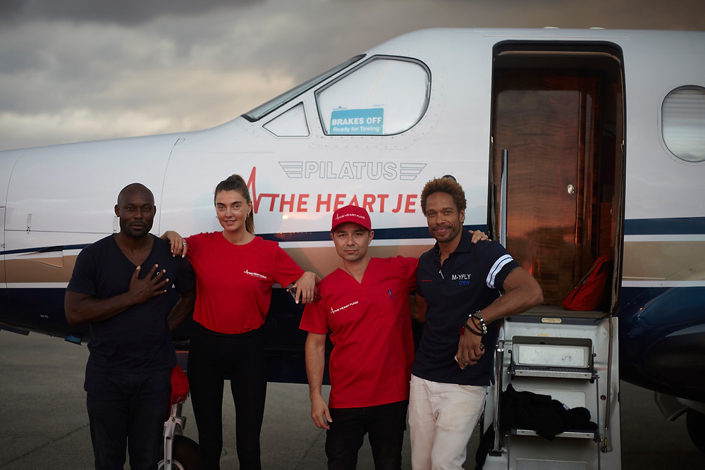 The Heart Fund Ambassadors and David Luu with the heart Jet