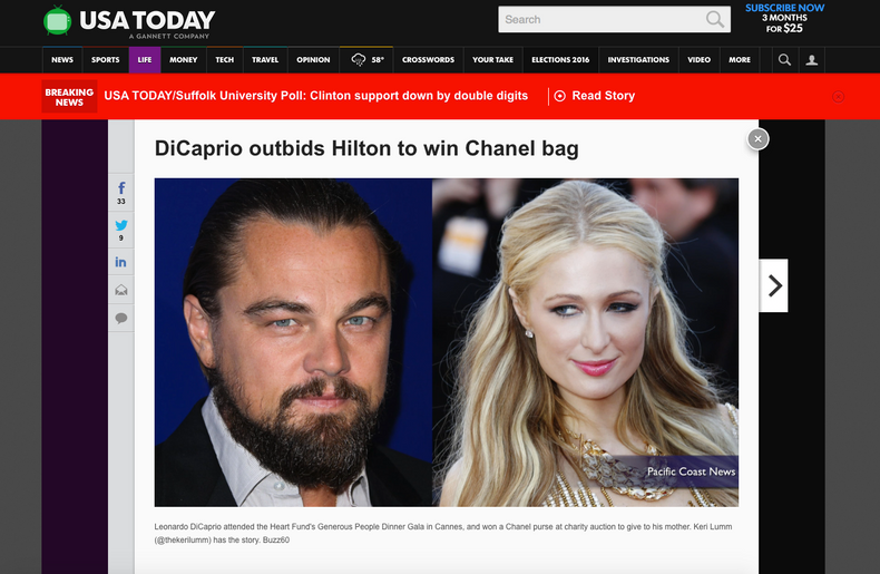 Cannes Film Festival 2015 — USA TODAY / Leonardo DiCaprio and Paris Hilton at the Generous People Ga