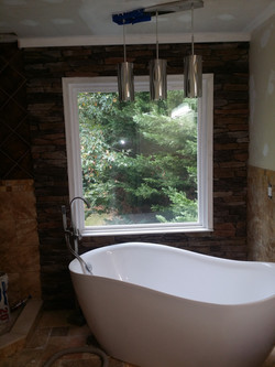 Tub with custom rock work