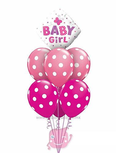 RAMILLETE DE GLOBOS CON PUNTOS BABY GIRL