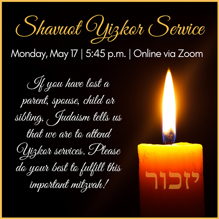 Shavuot Yizkor Service