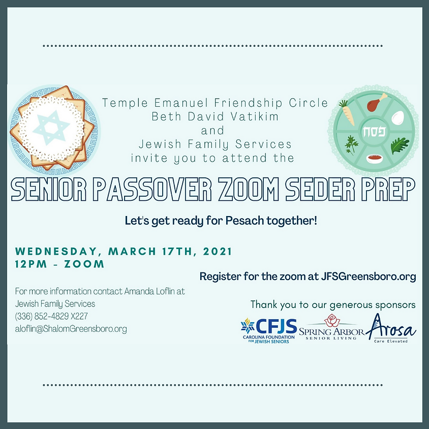Senior Passover Zoom Seder