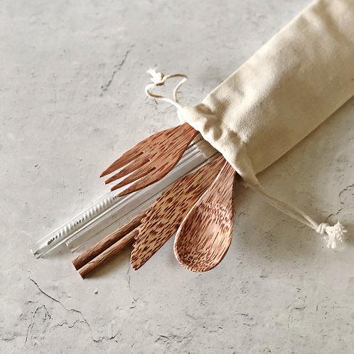 Glass Straw Set + Cutlery Set