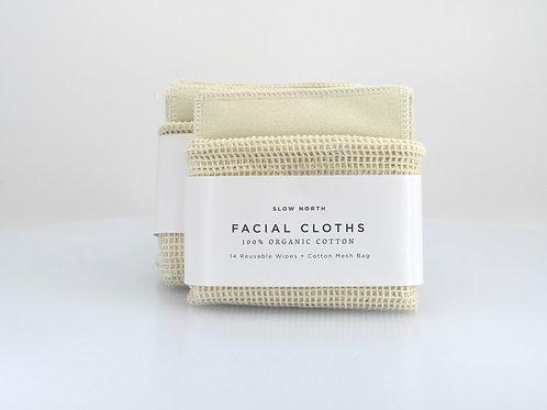 Reusable Facial Cloths + Cotton Mesh Bag( Set of 14 ) - Slow North