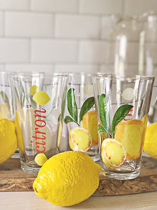 Vintage Lemon Drinking Glasses