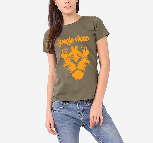 Women's Lion Face Army Tee