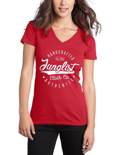 Ladies Red Vintage Baseball Tee