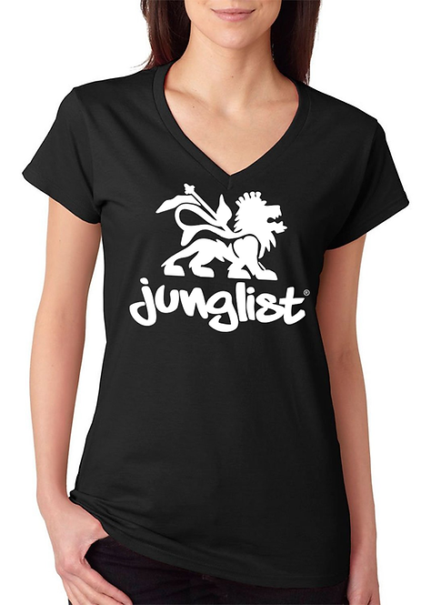 Ladies Black V-Neck Tee