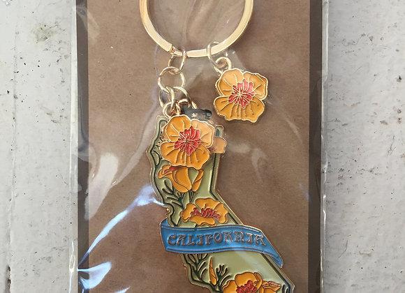 California Poppy Enamel Keychain