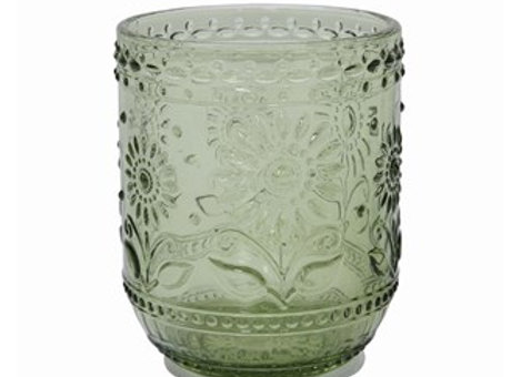 Green Embossed Glass