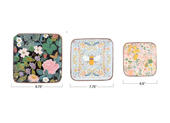 Floral Wood Tray