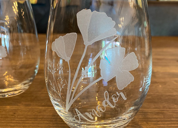 "Stemless Poppy Wine Glass ""Amador"""