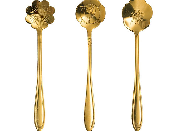 Stainless Steel Flower Spoons (set of 3)
