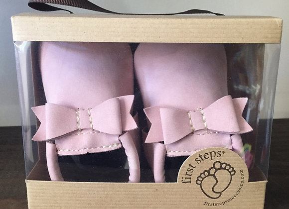 Pink Bow Soft Shoes (sizes 12-18 and 18-24 mon)