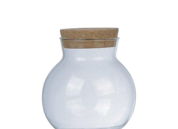 Round Glass Jar w/Cork Lid