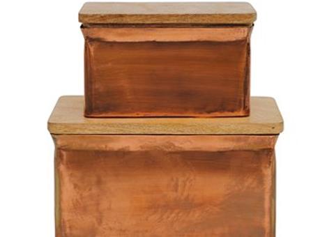 Metal Box Set w/ Wood Lids