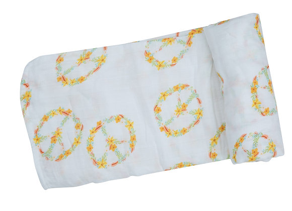 Floral Peace Swaddle Blanket