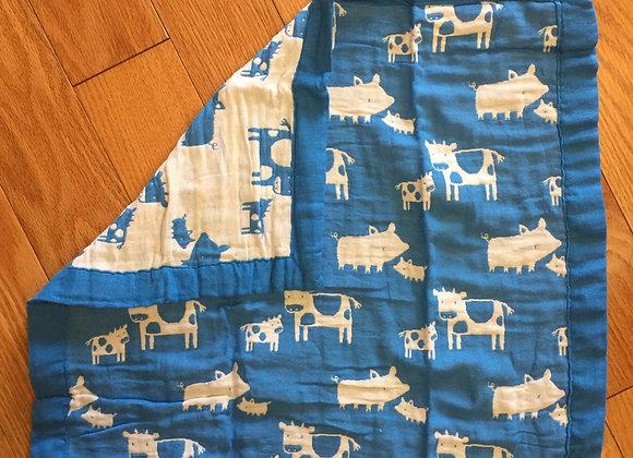 Blue/White Burpcloth/Little Blankie