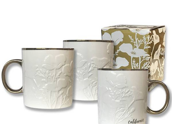 White/Gold California Poppy Mug