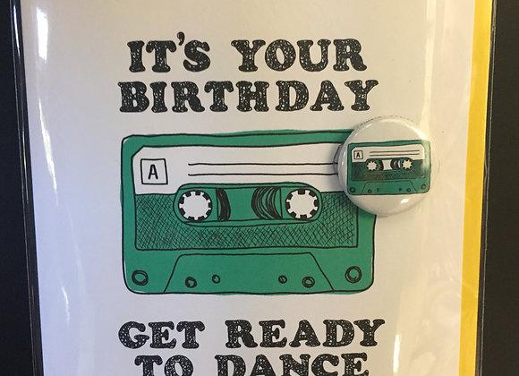 Birthday Mixtape card w/ button