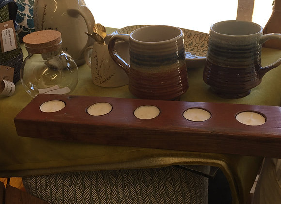 5-Votive Wood Candleholder