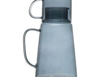 Blue Glass Carafe with Mug