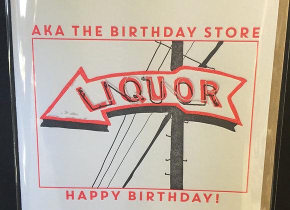 """Happy Birthday"" Liquor Store card"