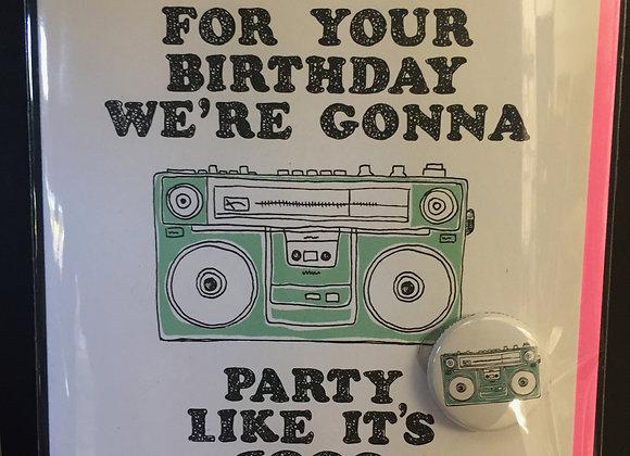 Birthday Boombox card w/ button