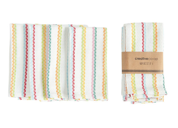 4 Cotton Striped Napkins