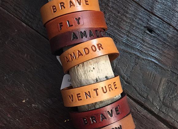 Inscribed Leather Bracelet