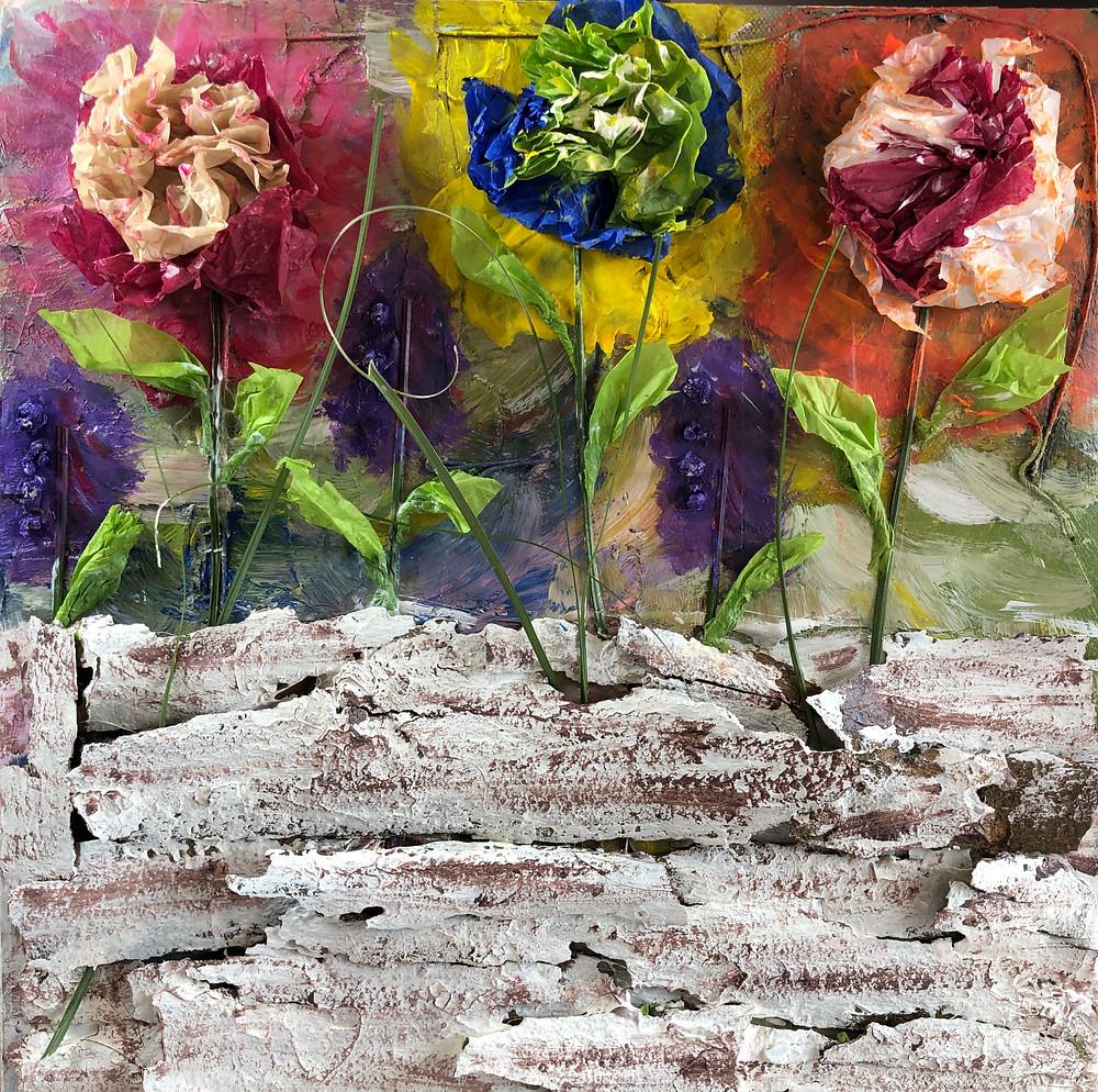 Mixed media; acrylic paints
