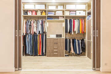 Modern wooden wardrobe with clothes hang