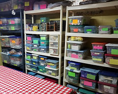 A very organized craft room with lots of