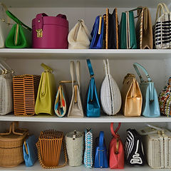 Organized colorful vintage handbag colle