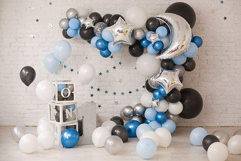 Birthday decor with stars and moon for b