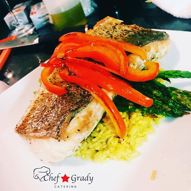 You see this Fish_ Client called me and said _chef I want fish_ so...Walleye, Yellow Rice,Lemon Roas