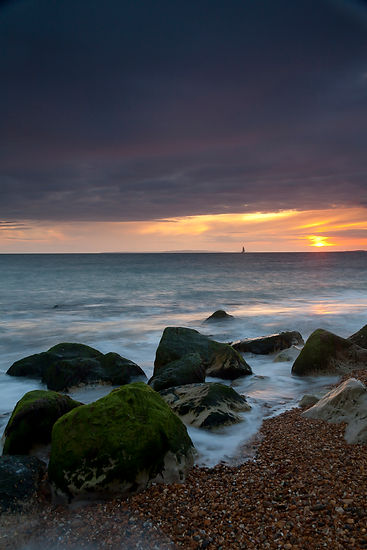 Beach at sunset, Milford on Sea
