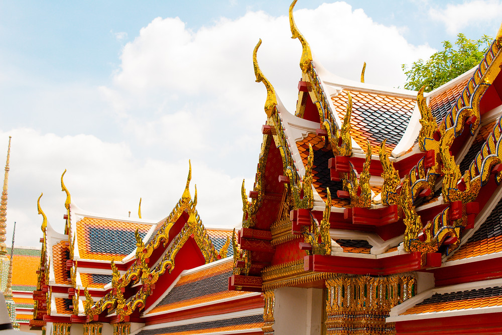 Beautifully ornate and colorful Buddhist temple roof