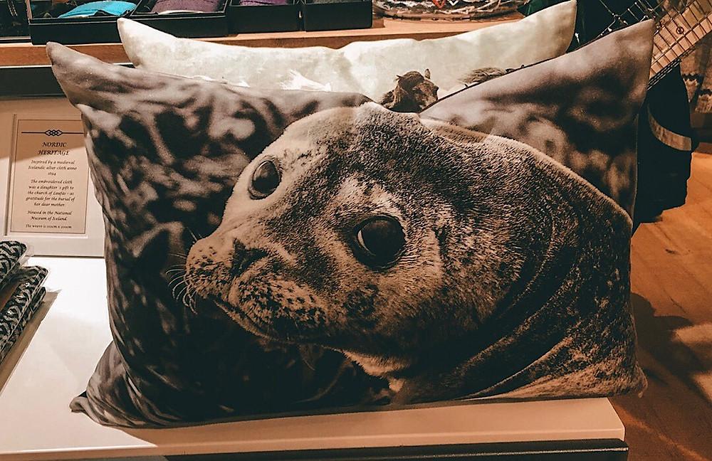Seal pillow in Iceland at Keflavik International Airport