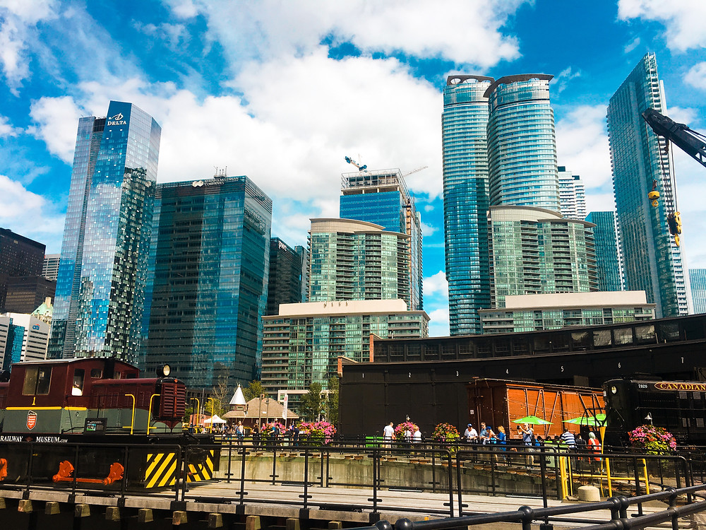 Tall blue-silver buildings of the Toronto skyline
