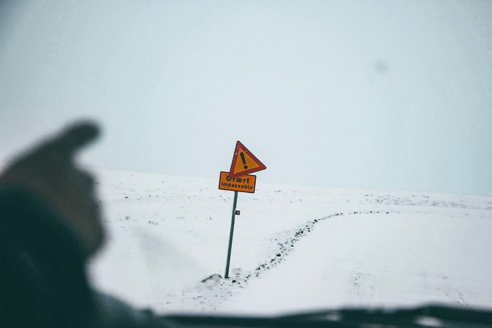 "Road warning sign in Iceland that says ""impassable"""