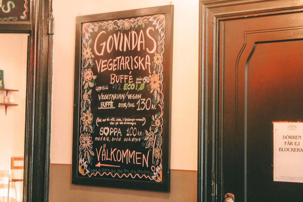 Restaurant sign for Govindas vegetarian buffet