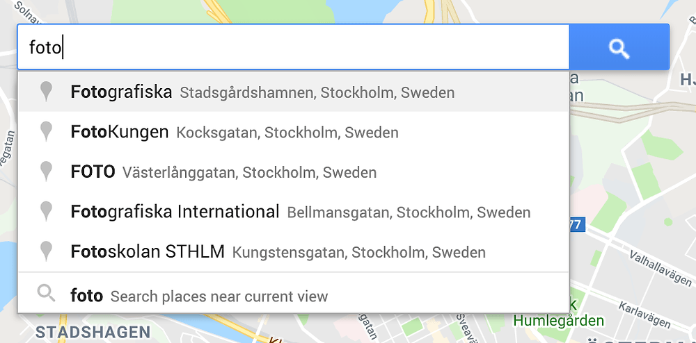 Searching for a specific place on Google Maps is easy because suggestions pop up as you begin to type