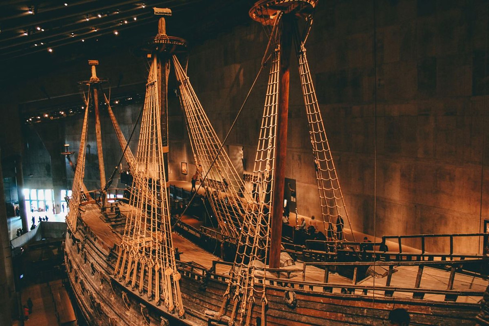 Massive ship in the middle of the Vasa Museum in Stockholm