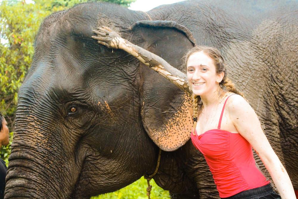 My sister giving an elephant a mud bath at Elephant Jungle Sanctuary
