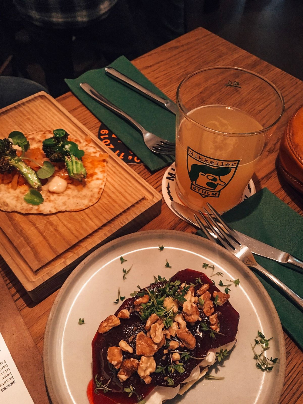 Smørrebrød and open-faced tortilla at Mikkeller bar