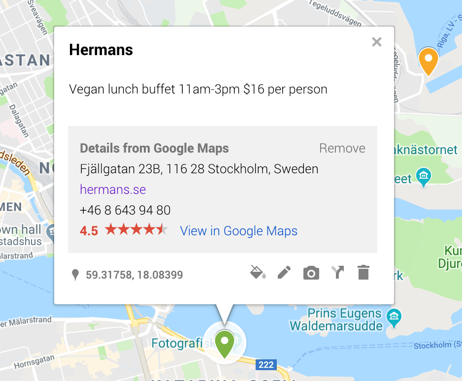 By using the description on each Google Map pin, I can keep track of details like pricing